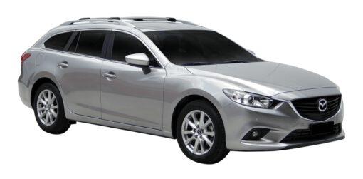 Whispbar Dakdragers (Zilver) Mazda 6 5dr Estate met Dakrails bouwjaar 2013-e.v. Complete set dakdragers