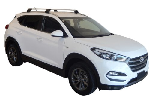 Whispbar Dakdragers (Zilver) Hyundai Tucson Steel Roof 5dr SUV met Geintegreerde rails bouwjaar 2015 - e.v.|Complete set dakdragers