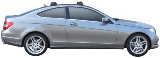 Whispbar Dakdragers (Silver) Mercedes-Benz C-Class Glass Roof 2dr Coupe met Vaste bevestigingspunten bouwjaar 2012 - 2015 Complete set dakdragers
