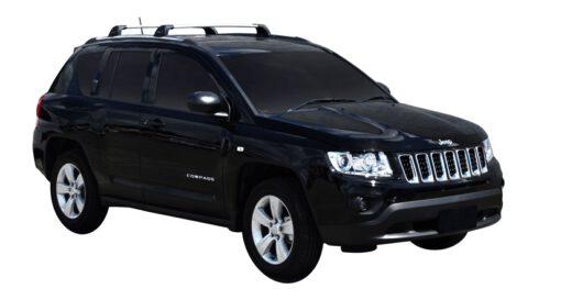 Whispbar Dakdragers (Zilver) Jeep Compass 5dr SUV met Geintegreerde rails bouwjaar 2011 - 2016|Complete set dakdragers