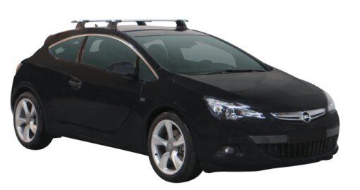 Whispbar Dakdragers (Silver) Opel Astra GTC 3dr Hatch met Vaste bevestigingspunten bouwjaar 2011 - e.v.|Complete set dakdragers