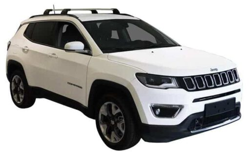 Whispbar Dakdragers (Zilver) Jeep Compass 5dr SUV met Geintegreerde rails bouwjaar 2017 - e.v. Complete set dakdragers