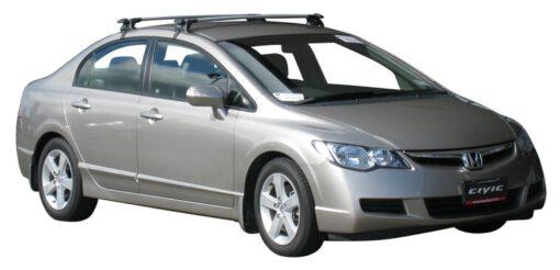 Whispbar Dakdragers Zilver Honda Civic 4dr Sedan met Glad dak bouwjaar 2005-2011 Complete set dakdragers