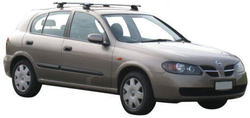 Whispbar Dakdragers Zilver Nissan Almera 5dr Hatch met Glad dak bouwjaar 2000-2006 Complete set dakdragers