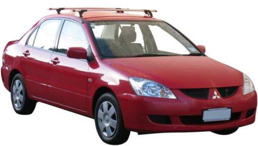 Whispbar Dakdragers Zilver Mitsubishi Cedia 4dr Sedan met Vaste bevestigingspunten bouwjaar 2003-2007 Complete set dakdragers