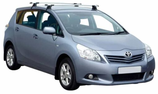Whispbar Dakdragers Zilver Toyota Verso 5dr MPV met Glad dak bouwjaar 2009-e.v. Complete set dakdragers