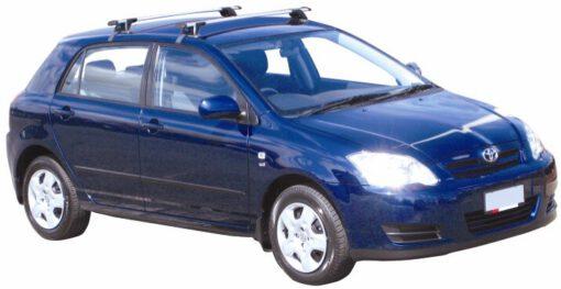 Whispbar Dakdragers Zilver Toyota Corolla 5dr Hatch met Glad dak bouwjaar 2002-2007 Complete set dakdragers