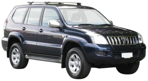 Whispbar Dakdragers Zilver Toyota Land Cruiser 120 Series (2 Bar) 5dr SUV met Vaste bevestigingspunten bouwjaar 2003-2009 Complete set dakdragers