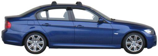 Whispbar Dakdragers Zilver BMW 3 Series E90 4dr Sedan met Vaste bevestigingspunten bouwjaar 2005-2012 Complete set dakdragers