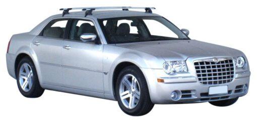 Whispbar Dakdragers Zilver Chrysler 300C 4dr Sedan met Glad dak bouwjaar 2004-2010 Complete set dakdragers