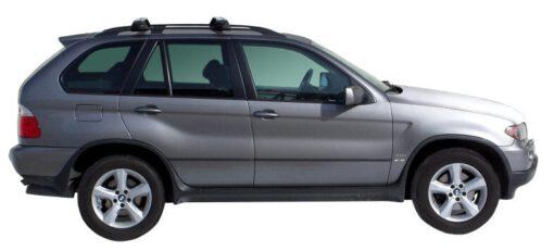 Whispbar Dakdragers Zilver BMW X5 E53 5dr SUV met Dakrails bouwjaar 2004-2007 Complete set dakdragers
