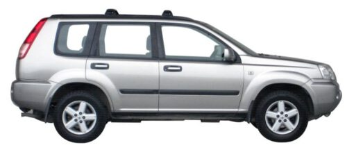 Whispbar Dakdragers Zilver Nissan X-Trail 5dr SUV met Flush Rail/Fixed Point bouwjaar 2001-2006 Complete set dakdragers