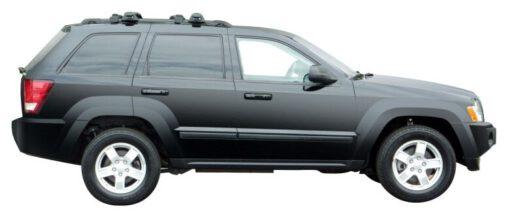 Whispbar Dakdragers Zilver Jeep Grand Cherokee WH 5dr SUV met Dakrails bouwjaar 2005-2010 Complete set dakdragers