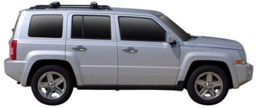 Whispbar Dakdragers Zilver Jeep Patriot 5dr SUV met Dakrails bouwjaar 2007-e.v. Complete set dakdragers