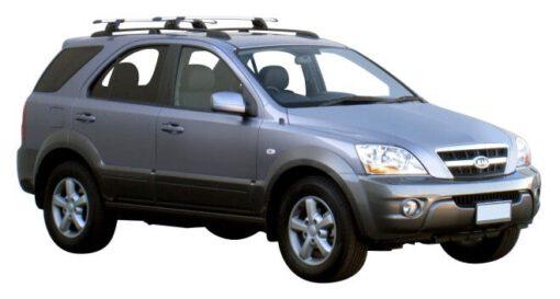Whispbar Dakdragers Zilver Kia Sorento 5dr SUV met Track Mount bouwjaar 2003-2010 Complete set dakdragers