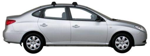 Whispbar Dakdragers Zilver Hyundai Elantra 4dr Sedan met Glad dak bouwjaar 2006-2011 Complete set dakdragers