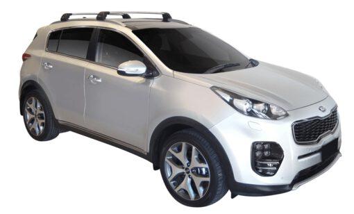 Whispbar Dakdragers (Zilver) Kia Sportage Glass Roof 5dr SUV met Geintegreerde rails bouwjaar 2016 - e.v. Complete set dakdragers