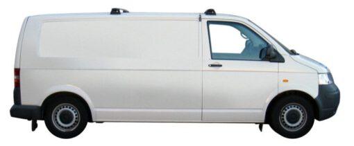 Whispbar Dakdragers Zilver Volkswagen Transporter T5 SWB 4dr Van met Vaste bevestigingspunten bouwjaar 2003-2015 Complete set dakdragers