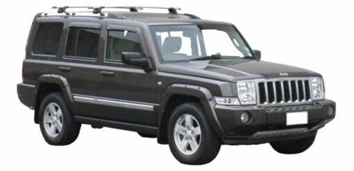 Whispbar Dakdragers Zilver Jeep Commander 5dr SUV met Track Mount bouwjaar 2006-2011 Complete set dakdragers
