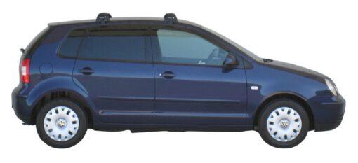 Whispbar Dakdragers Zilver Volkswagen Polo Mk4 5dr Hatch met Glad dak bouwjaar 2002-2005 Complete set dakdragers