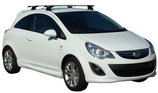 Whispbar Dakdragers Zilver Opel Corsa 3dr Hatch met Vaste bevestigingspunten bouwjaar 2006-2014 Complete set dakdragers