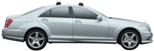 Whispbar Dakdragers Zilver Mercedes-Benz S-Class W221 4dr Sedan met Vaste bevestigingspunten bouwjaar 2006-2013 Complete set dakdragers