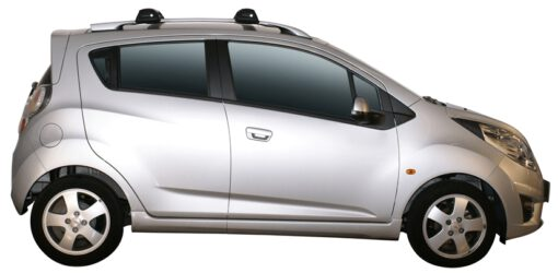 Whispbar Dakdragers Zilver Chevrolet Spark 5dr Hatch met Dakrails bouwjaar 2010-e.v. Complete set dakdragers