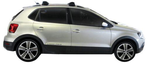 Whispbar Dakdragers Zilver Volkswagen Cross Polo 5dr Hatch met Dakrails bouwjaar 2010-e.v. Complete set dakdragers