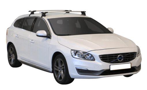 Whispbar Dakdragers Zilver Volvo V60 5dr Estate met Glad dak bouwjaar 2010-e.v. Complete set dakdragers