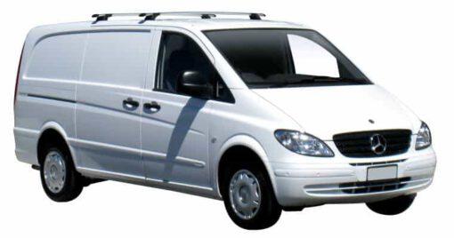 Whispbar Dakdragers Zilver Mercedes-Benz Viano 4dr Van met Vaste bevestigingspunten bouwjaar 2004-2013 Complete set dakdragers