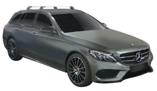 Whispbar Dakdragers (Zilver) Mercedes-Benz C-Class 5dr Estate met Geintegreerde rails bouwjaar 2014 - e.v. Complete set dakdragers