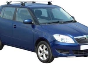 Whispbar Dakdragers Zilver Skoda Fabia 5dr Hatch met Glad dak bouwjaar 2007-2014 Complete set dakdragers