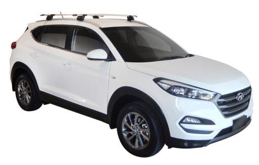 Whispbar Dakdragers (Zilver) Hyundai Tucson Glass Roof 5dr SUV met Geintegreerde rails bouwjaar 2015 - e.v.|Complete set dakdragers