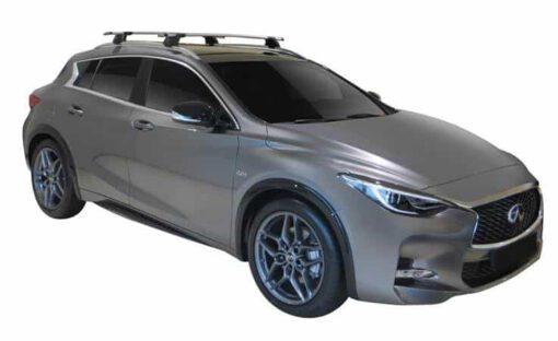 Whispbar Dakdragers (Zilver) Infiniti Q30 5dr Hatch met Geintegreerde rails bouwjaar 2015 - e.v.|Complete set dakdragers
