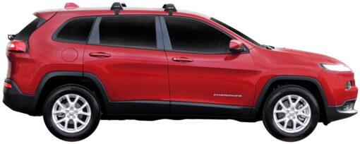 Whispbar Dakdragers (Black) Jeep Cherokee 5dr SUV met Glad dak bouwjaar 2014 - e.v. Complete set dakdragers