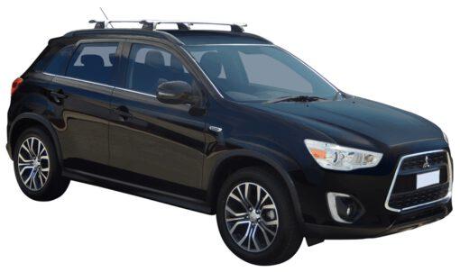 Whispbar Dakdragers (Zilver) Mitsubishi ASX 5dr SUV met Geintegreerde rails bouwjaar 2016 - e.v. Complete set dakdragers
