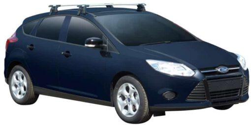 Whispbar Dakdragers (Zilver) Ford Focus Existing Hole Under Door Frame 5dr Hatch met Glad dak bouwjaar 2011 - e.v.|Complete set dakdragers