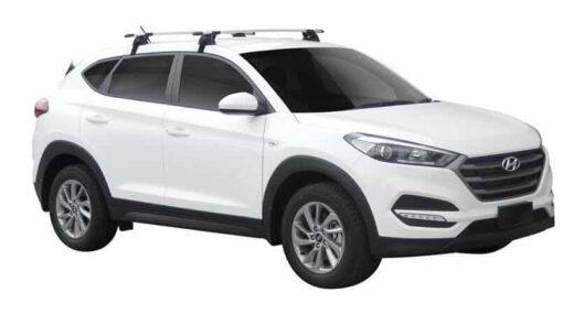 Whispbar Dakdragers (Zilver) Hyundai Tucson 5dr SUV met Glad dak bouwjaar 2015 - e.v. Complete set dakdragers