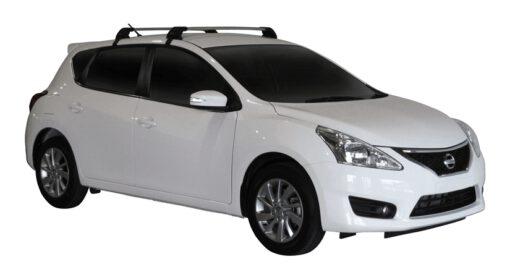 Whispbar Dakdragers (Zilver) Nissan Pulsar 5dr Hatch met Glad dak bouwjaar 2013 - e.v. Complete set dakdragers