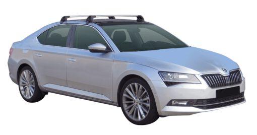 Whispbar Dakdragers (Zilver) Skoda Superb 4dr Sedan met Glad dak bouwjaar 2015 - e.v. Complete set dakdragers