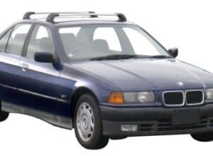 Whispbar Dakdragers Zwart BMW 3 Series E36 4dr Sedan met Vaste Bevestigingspunten bouwjaar 1991-1998 Complete set dakdragers