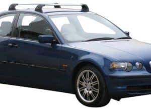 Whispbar Dakdragers Zilver BMW 3 Series E46 Compact 3dr Hatch met Vaste Bevestigingspunten bouwjaar 2000-2004 Complete set dakdragers