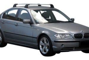 Whispbar Dakdragers Zilver BMW 3 Series E46 4dr Sedan met Vaste Bevestigingspunten bouwjaar 1999-2004 Complete set dakdragers