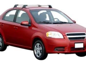 Whispbar Dakdragers Zilver Chevrolet Aveo T250 4dr Sedan met Glad Dak bouwjaar 2006-2011 Complete set dakdragers