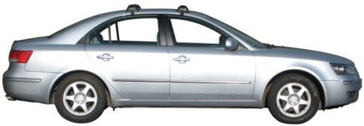 Whispbar Dakdragers Zilver Hyundai Sonata 4dr Sedan met Glad Dak bouwjaar 2005-2010 Complete set dakdragers