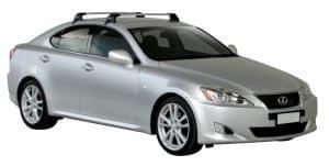 Whispbar Dakdragers Zilver Lexus IS 4dr Sedan met Glad Dak bouwjaar 2006-2013 Complete set dakdragers