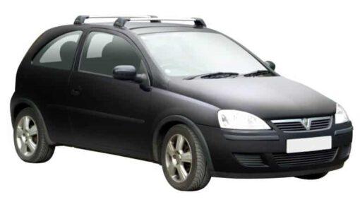 Whispbar Dakdragers Zilver Opel Corsa C 3dr Hatch met Vaste Bevestigingspunten bouwjaar 2000-2006 Complete set dakdragers