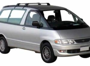 Whispbar Dakdragers Zilver Toyota Emina Lucida 4dr MPV met Vaste Bevestigingspunten bouwjaar 1992-1999 Complete set dakdragers